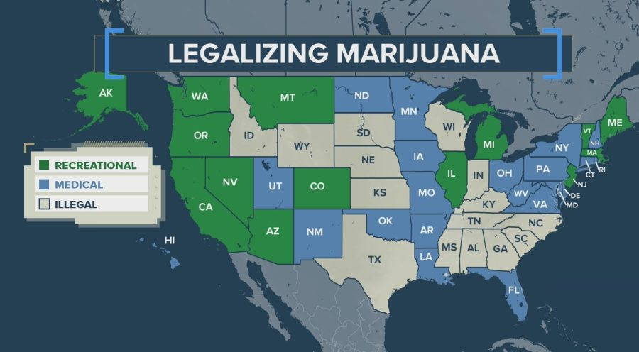 Map of legalizing marijuana across US
