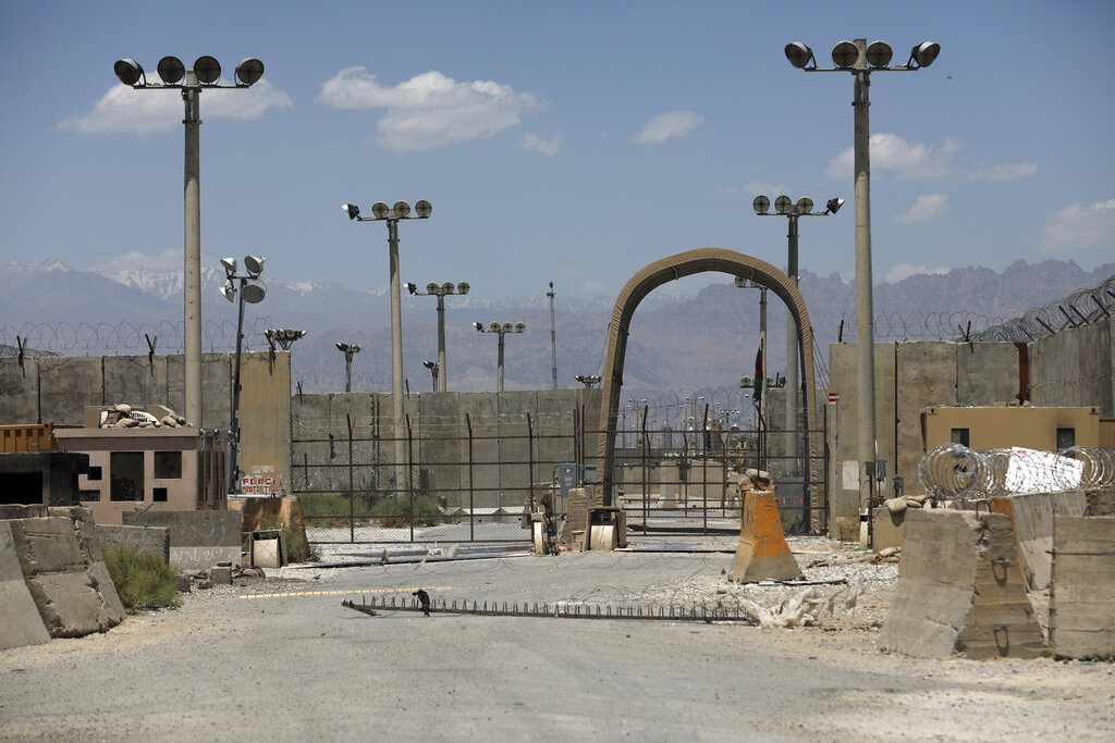 A gate is seen at Bagram Air Base in Afghanistan, Friday, June 25, 2021. In 2001 the armies of the world united behind America and Bagram Air Base, barely an hours drive from the Afghan capital Kabul, was chosen as the epicenter of Operation Enduring Freedom, as the assault on the Taliban rulers was dubbed. It's now nearly 20 years later and the last US soldier is soon to depart the base. (AP Photo/Rahmat Gul)