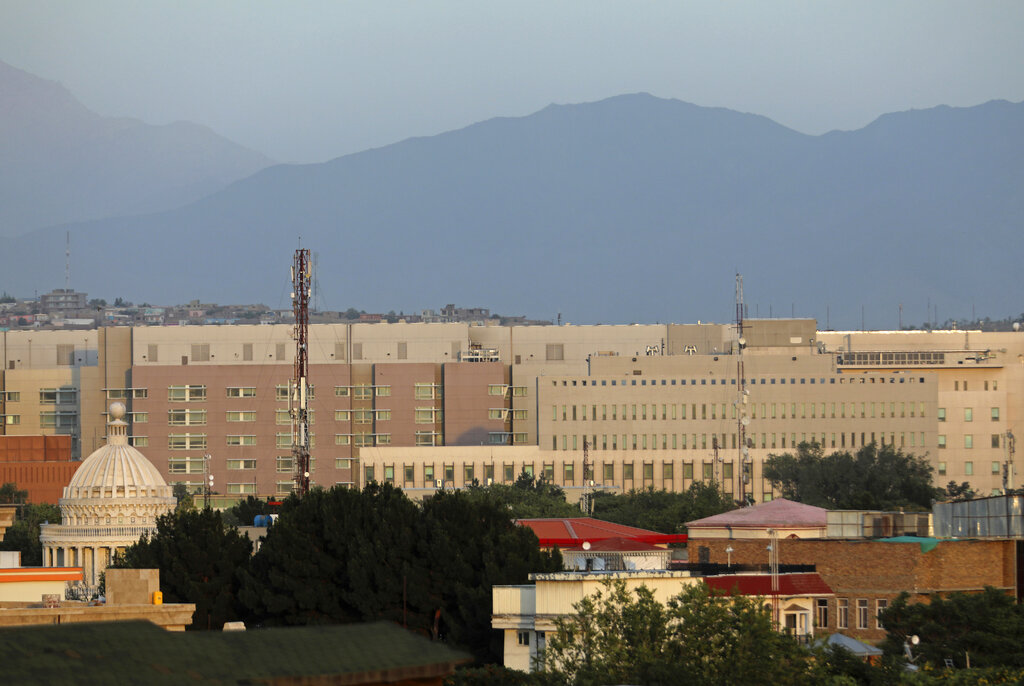"""The U.S. Embassy dominates the skyline in Kabul, Afghanistan, Saturday, July 3, 2021. As America's """"forever war"""" rapidly winds down, the U.S. Embassy and other diplomatic missions in Kabul are looking at a worsening security situation and how to respond. (AP Photo/Rahmat Gul)"""